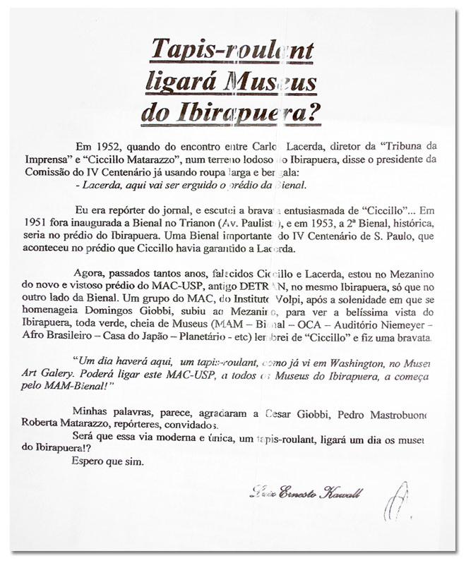 Correspondênciade nosso Conselheiro Luiz Ernesto Kawall